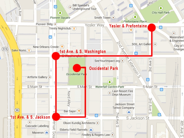 Map of Pioneer Square with Clamor Art Walk route